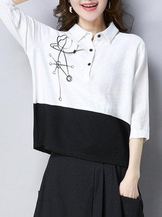 Color-block Shirt Collar Linen Top