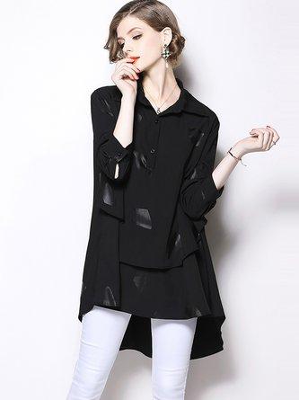 Black Folds High Low Asymmetric Paneled Blouse