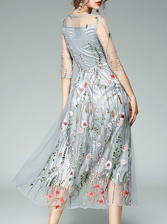 Gray Vintage Party Mesh Floral Evening Midi Dress