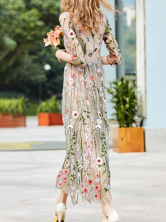 Apricot Vintage Floral Embroidered Evening Maxi Dress