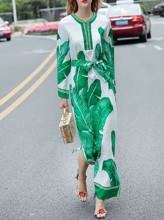 Green Shift Daily Elegant Long Sleeve Slit Leaf Maxi Dress