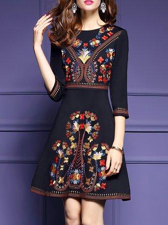 Black Party A-line Daily Elegant Floral Midi Dress