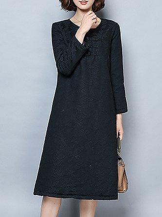 ffc4dec1008 Shift Daytime Jacquard Casual Long Sleeve Solid Dress