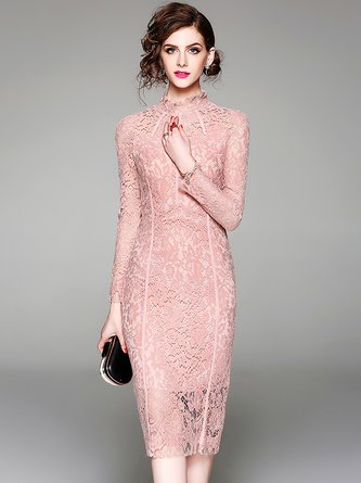 Elegant Guipure lace Party Sheath Turtleneck Midi Dress