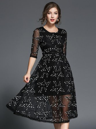 A-line Daytime Embroidered Black Midi Dress