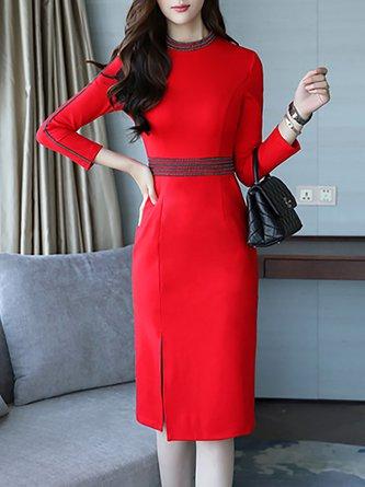Stand Collar  Midi Dress Sheath Daytime Long Sleeve Slit Dress