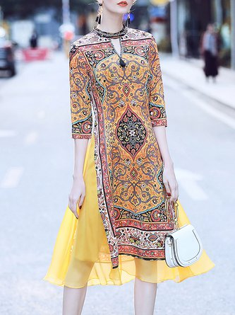 Keyhole Yellow Midi Dress A-line Daily Half Sleeve Paneled Dress