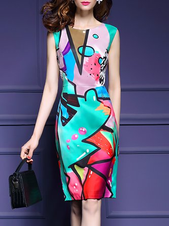 Multicolor Midi Dress Daytime Sleeveless Abstract Dress