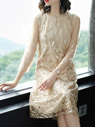 Apricot Midi Dress Shift Daily 3/4 Sleeve Leaf Dress