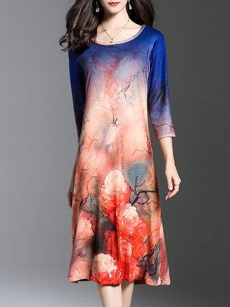 Multicolor Midi Dress Shift Daily 3/4 Sleeve Floral Dress