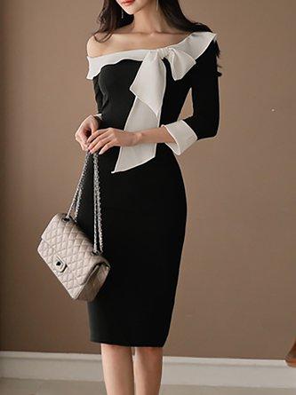 Black Midi Dress Bodycon Daytime Vintage Bow Dress