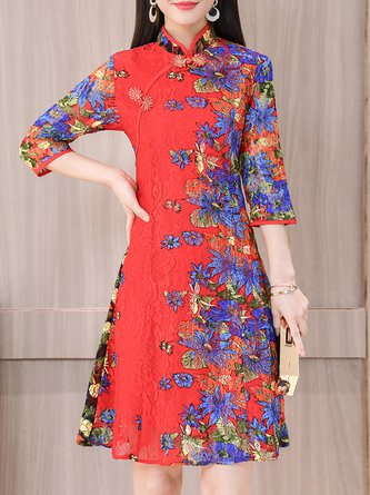 Stand Collar Midi Dress Going out 3/4 Sleeve Floral Dress