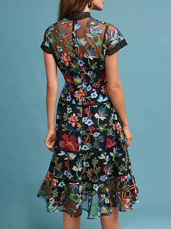 Stand Collar Multicolor Midi Dress A-line Daily Vintage Floral Dress