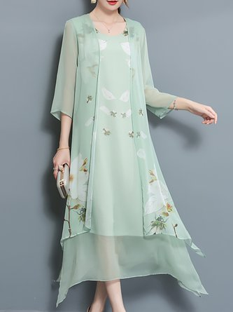 Green Casual 3/4 Sleeve Floral Midi Dress