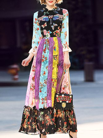 Multicolor Maxi Dress Prom 3/4 Sleeve Patch Dress