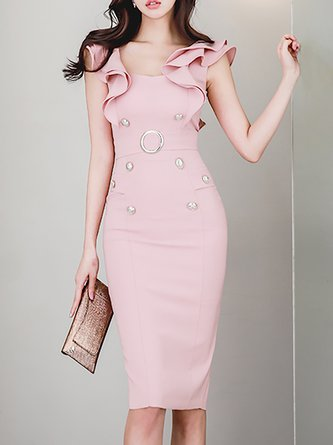 Midi Dress Daytime Sleeveless Vintage Dress