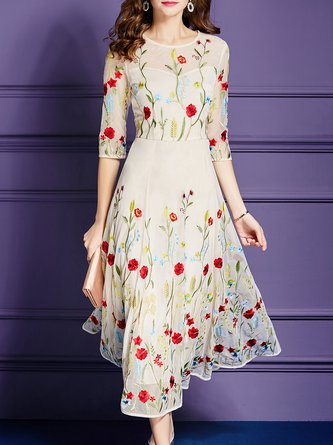 Daily Tencel Short Sleeve Elegant Embroidered Floral Midi Dress