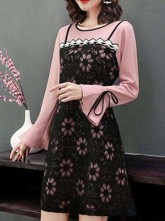 6a57ab81bb4 Pink A-line Date Sweet Bell Sleeve Paneled Floral Midi Dress