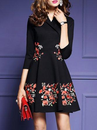 Black A-line Daily Elegant 3/4 Sleeve Floral Midi Dress