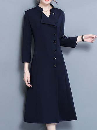 Statement A-line Daytime Elegant Solid Midi Dress