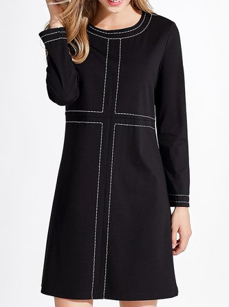 Black Shift Daily Knitted Long Sleeve  Midi Dress