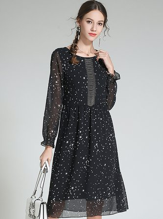 3cbdcff1d706 Swing Frill Sleeve Chiffon Black Midi Dress