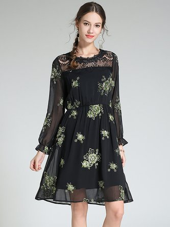 320d3433a23d Casual Chiffon Embroidered Black Midi Dress