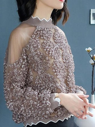 Coffee Stand Collar Chiffon See-through Look Appliqued Top