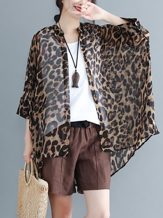 a05e91b341594 Brown Cotton High Low 3 4 Sleeve Leopard Print Buttoned Blouse