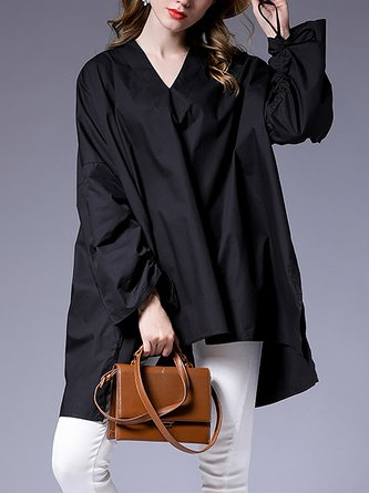 High Low Solid Casual V-Neck Long Sleeve Blouse