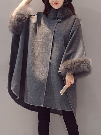 Gray Shift Buttoned Fluffy Poncho and Cape