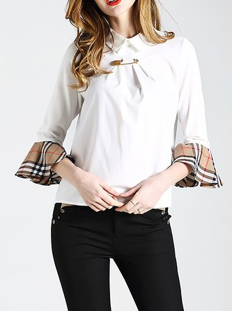 Casual Shirt Collar Shift Bell Sleeve Blouse