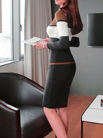 Bateau/boat neck  Bodycon  Long Sleeve Work  Sweater Dress