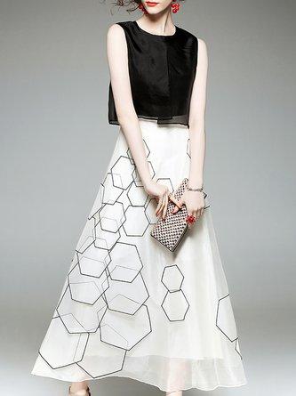 Silk Vintage Geometric Paneled Statement Midi Dress
