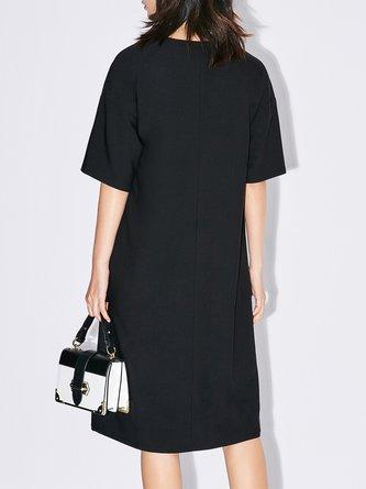 Apricot Simple A-line Solid V Neck Midi Dress