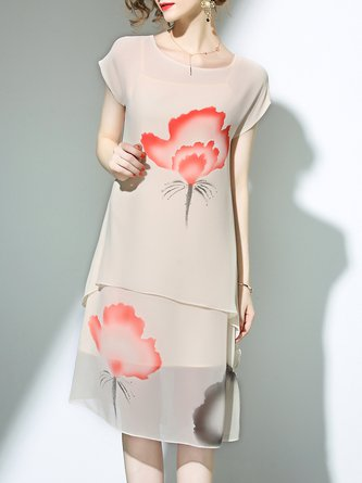 Beige Crew Neck A-line Floral-print Shorts Sleeve Midi Dress With Camis