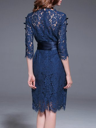 Blue Midi Dress A-line Lace Solid Dress