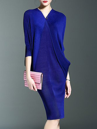 Royal blue  Elegant Batwing Asymmetric Solid Midi Dress