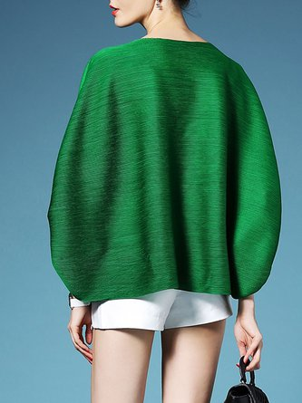 Green Solid Crew Neck Casual Long Sleeved T-Shirt