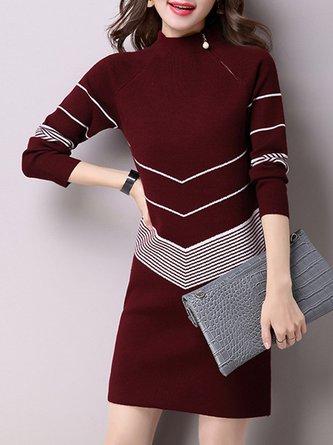 Stand Collar Shift Zipper Casual Sweater Midi Dress