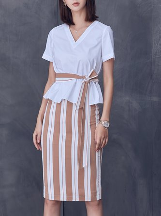White Solid Shorts Sleeve Top With Skirt