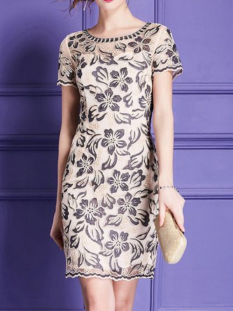 Midi Dress Sheath Party Elegant Floral Dress