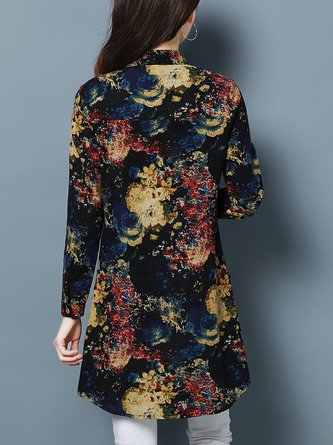 Multicolor H-line Casual Cotton-blend Stand Collar Blouse