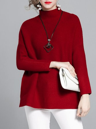 Knitted Stand Collar Casual Sweater