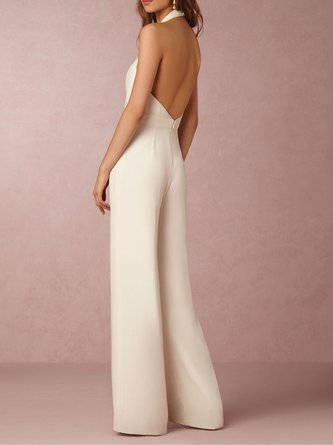 Sleeveless Sexy Plunging neck Folds Solid Jumpsuit