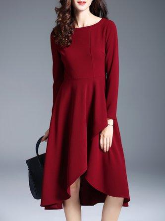 0921fc048ab9 Midi Dress Party Long Sleeve Asymmetric Dress