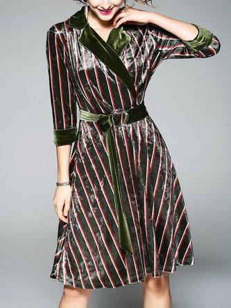 Lapel  Midi Dress Going out Half Sleeve Velvet Dress