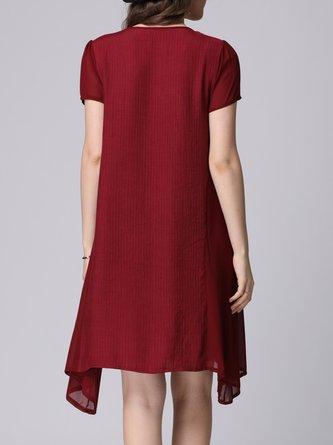Burgundy Appliqued Polka Dots Midi Dress Daily Dress