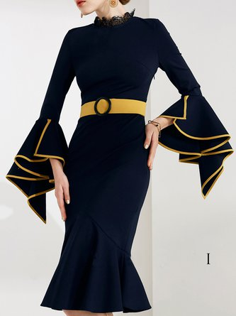 Stand Collar Dark blue Midi Dress Mermaid Going out Frill Sleeve Asymmetric Dress