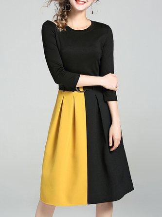 Black 3/4 Sleeve A-line Color-block Midi Dress With Belt
